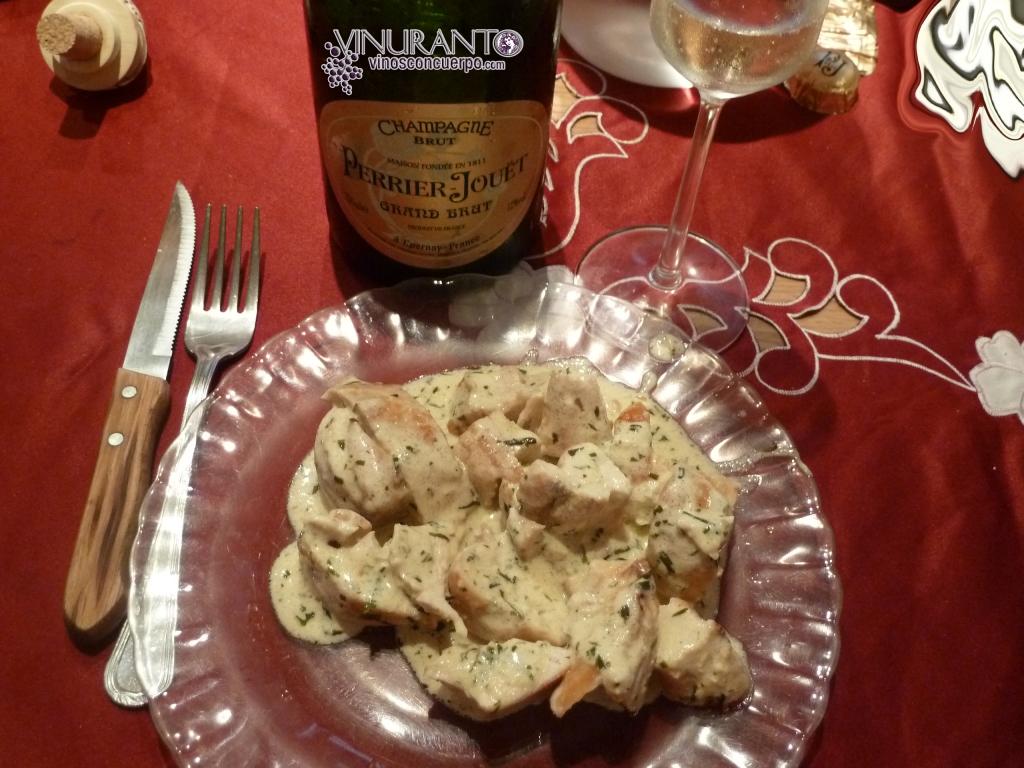 Pollo al estragon con champagne. Delicioso.