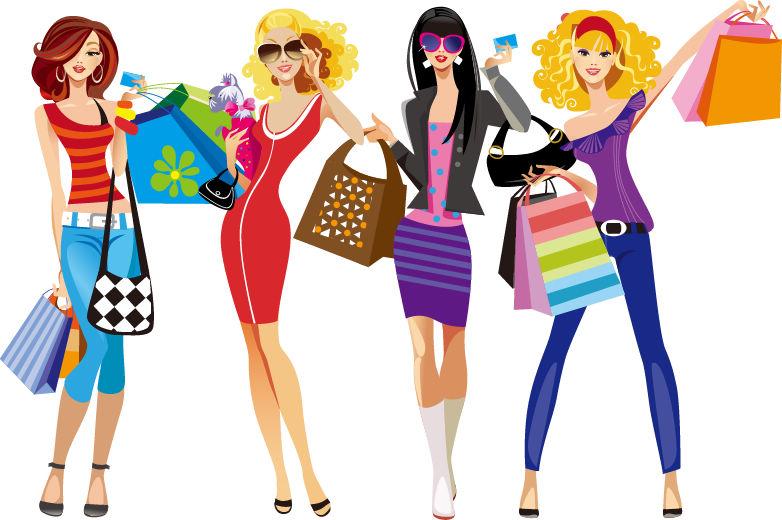 Shopping Girls Vector Illustration