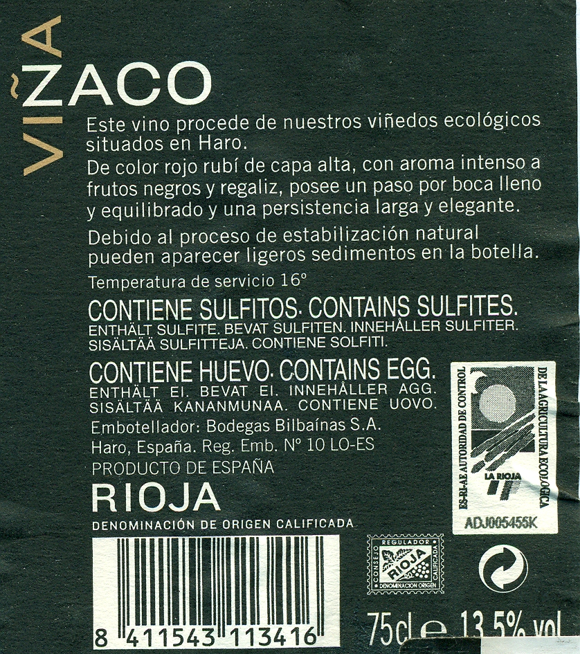 Contra-etiqueta donde se ve el sello de agricultura ecológica.