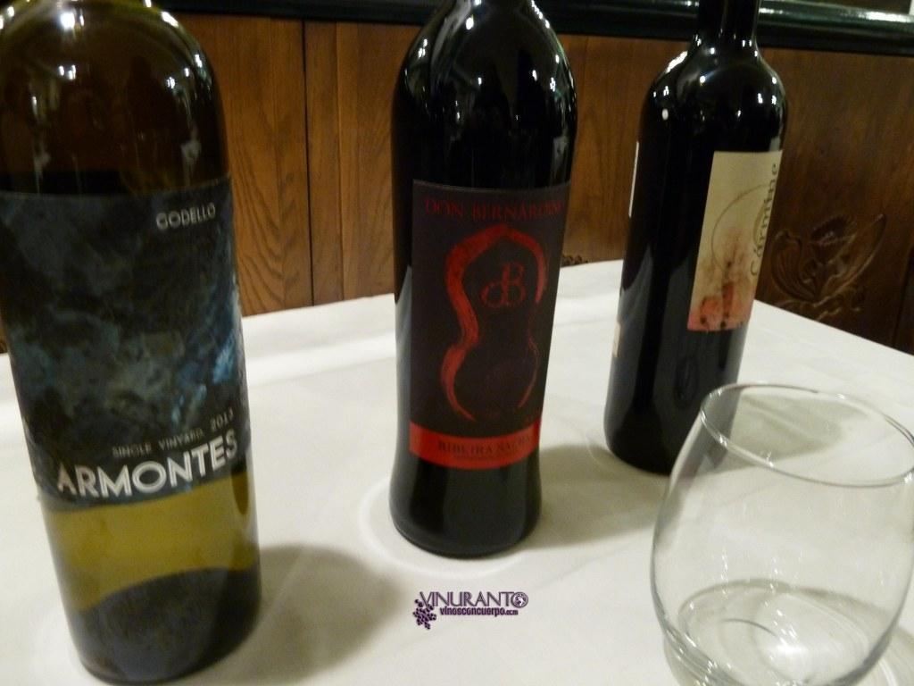 Los vinos presentados en Restaunte Manolo.