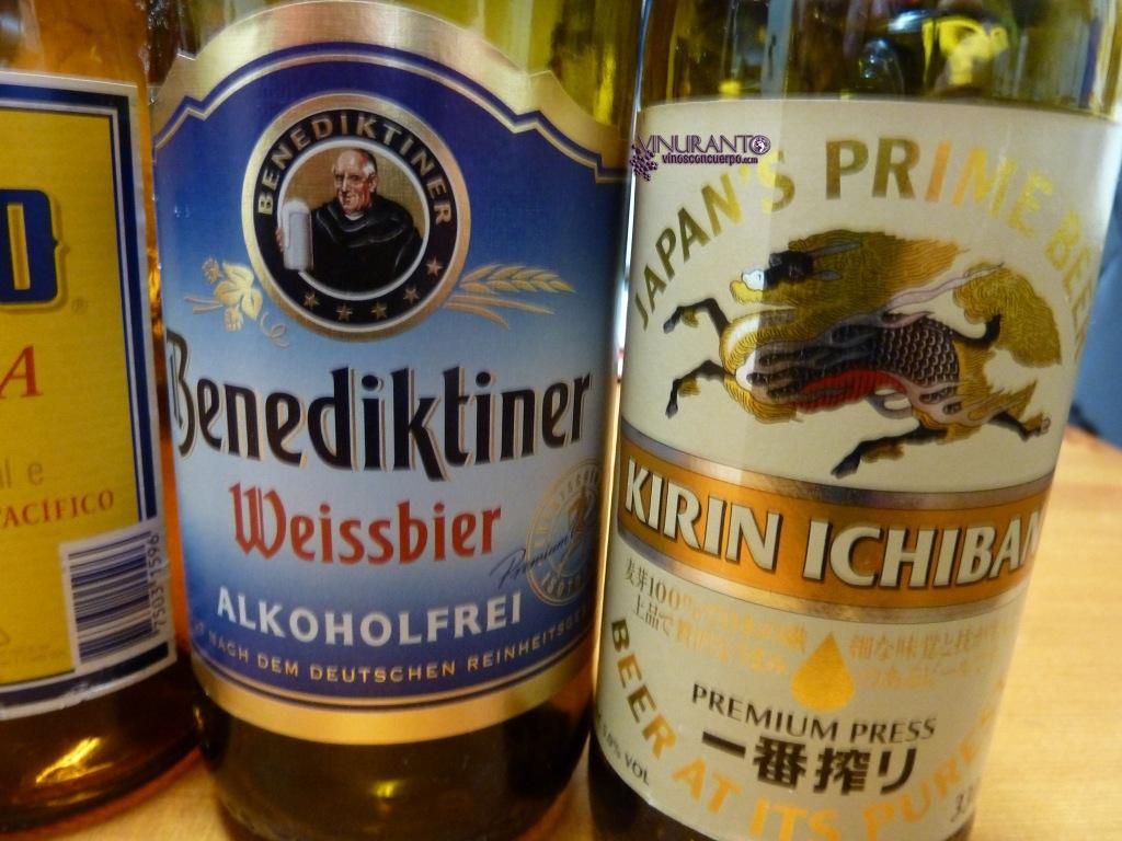 Benediktiner (Cerveza alemana sin alcohol). Kirin Icin (Japón).